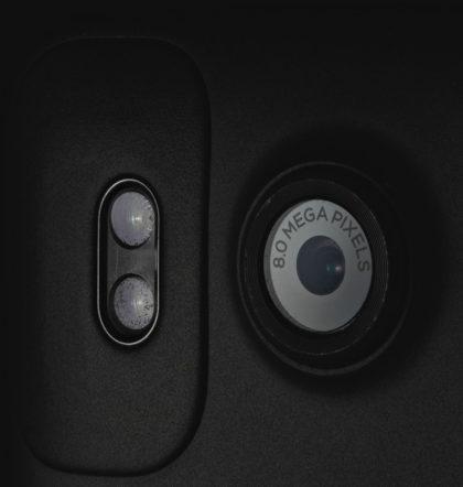 Closeup photo of a mobile phone camera lens